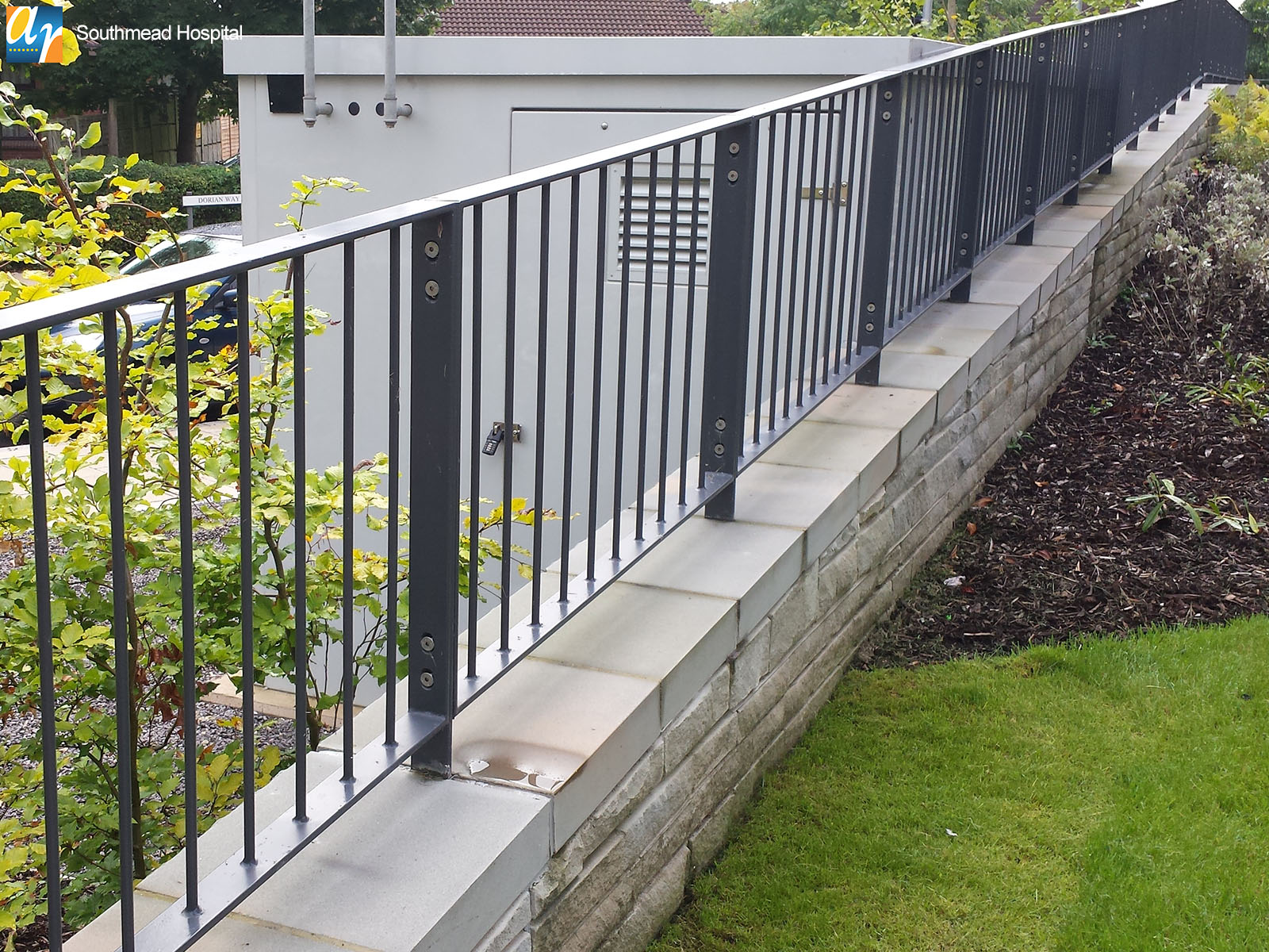 Southmead Hospital flat top metal railings
