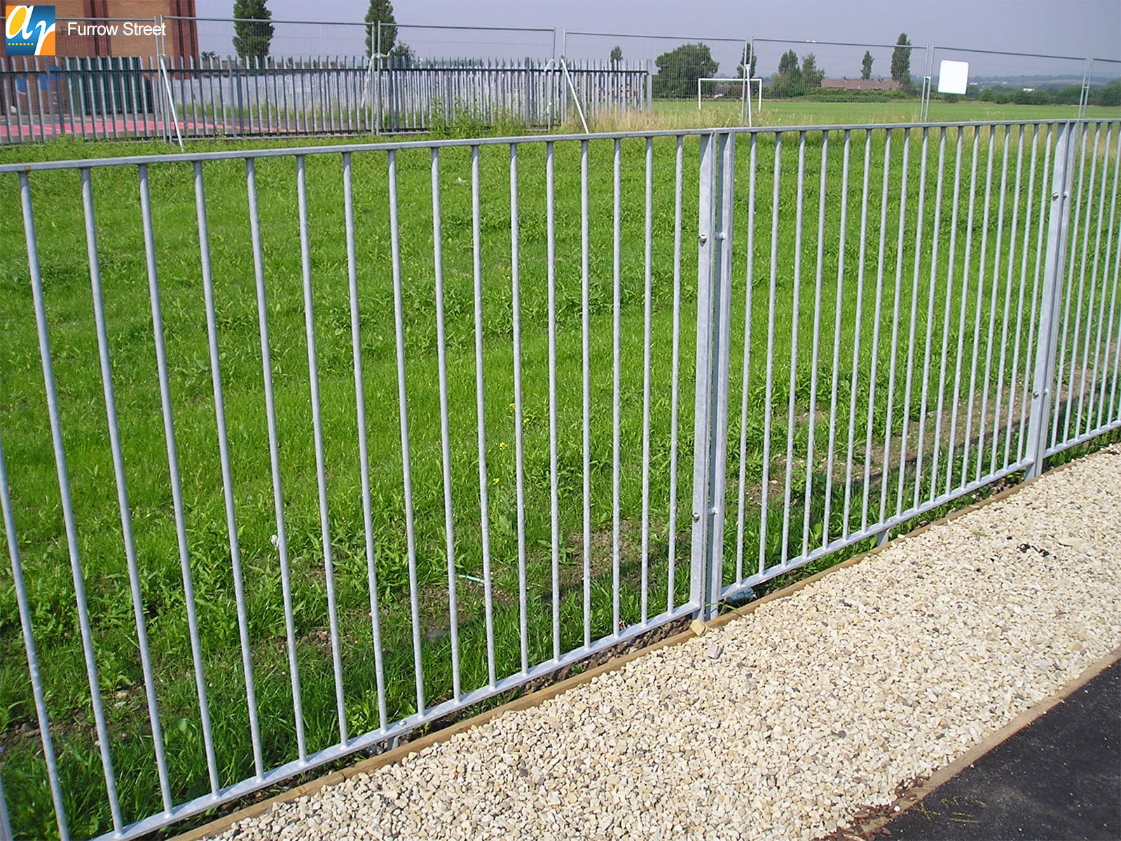 Furrow Street flat top metal railings