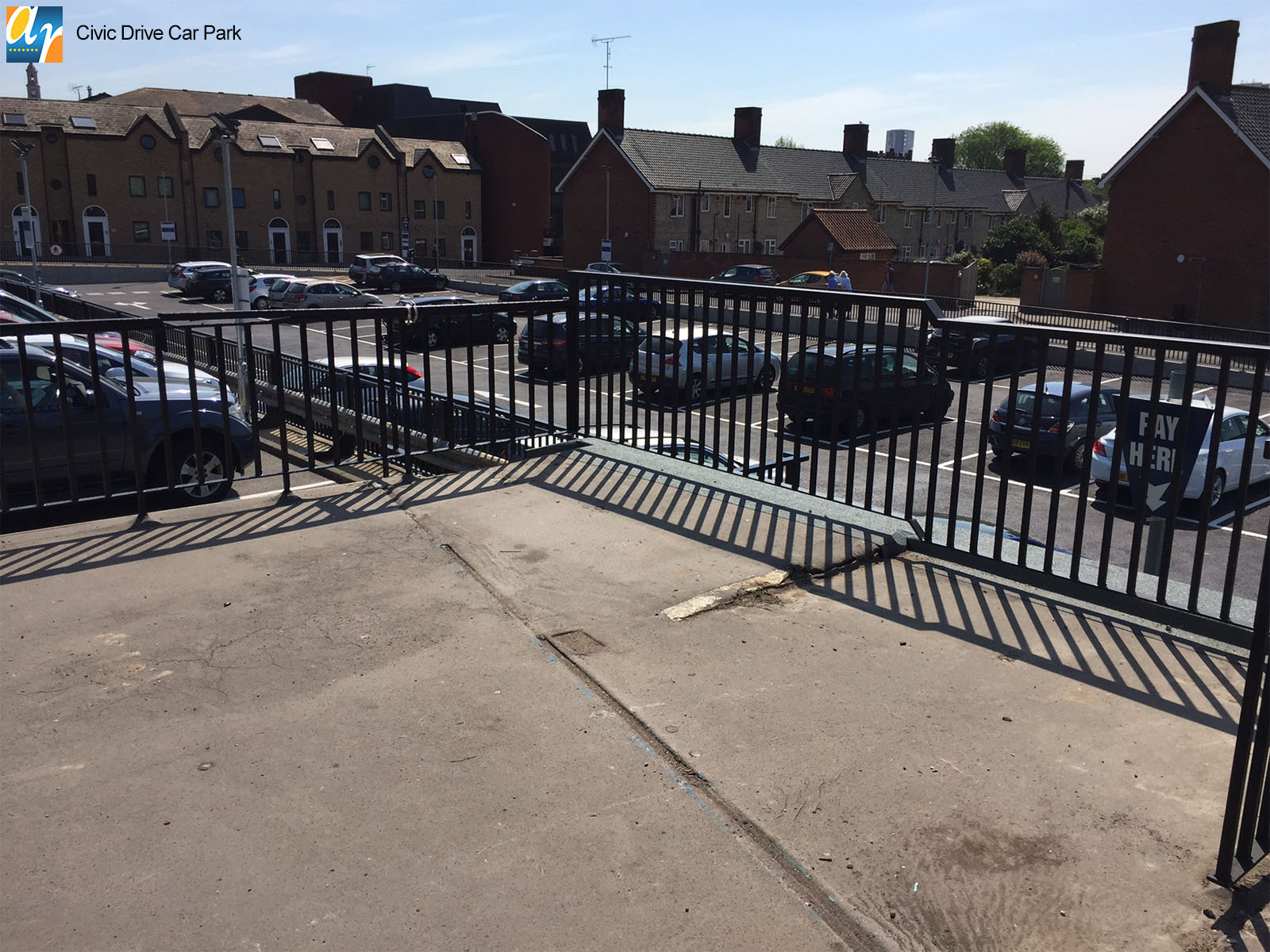 Civic Drive Car Park flat top metal railings