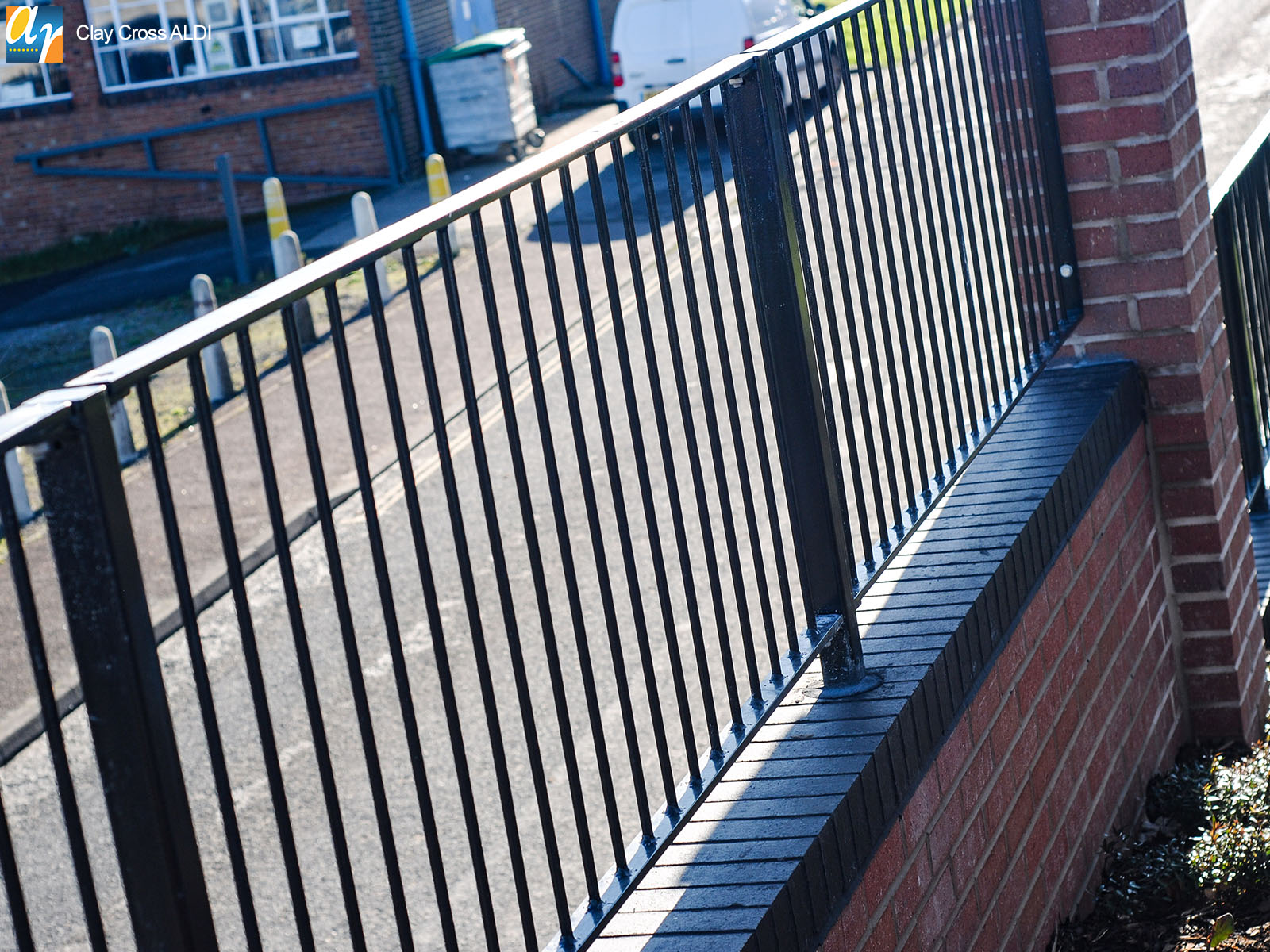 Clay Cross ALDI Flat top metal railings