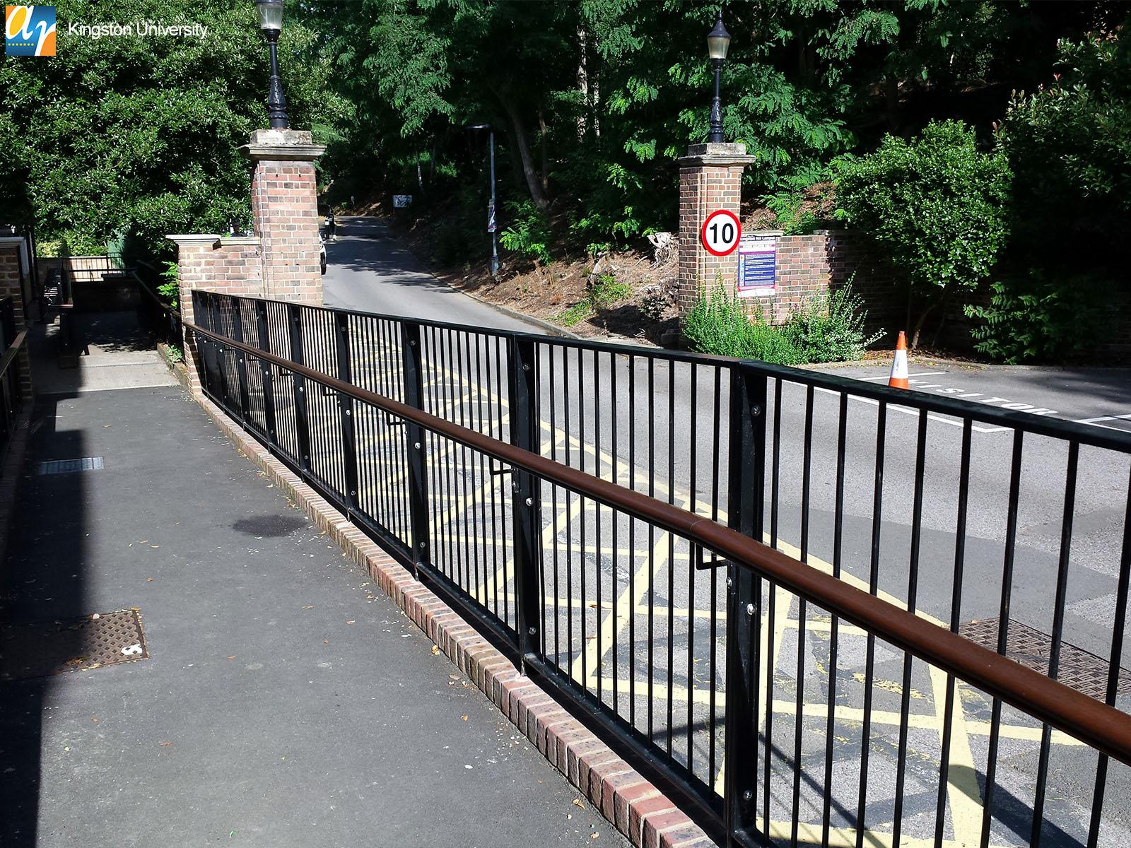 Kingston University metal railings and handrail