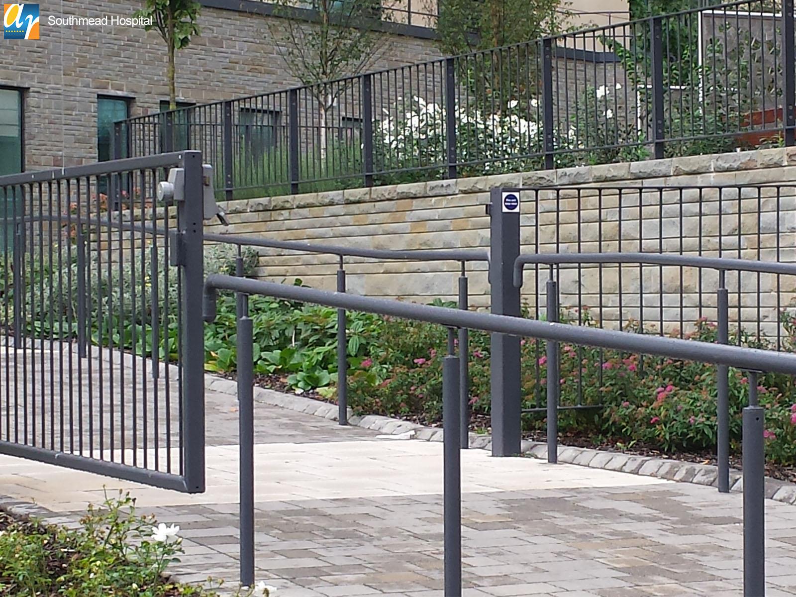Southmead hospital metal handrail