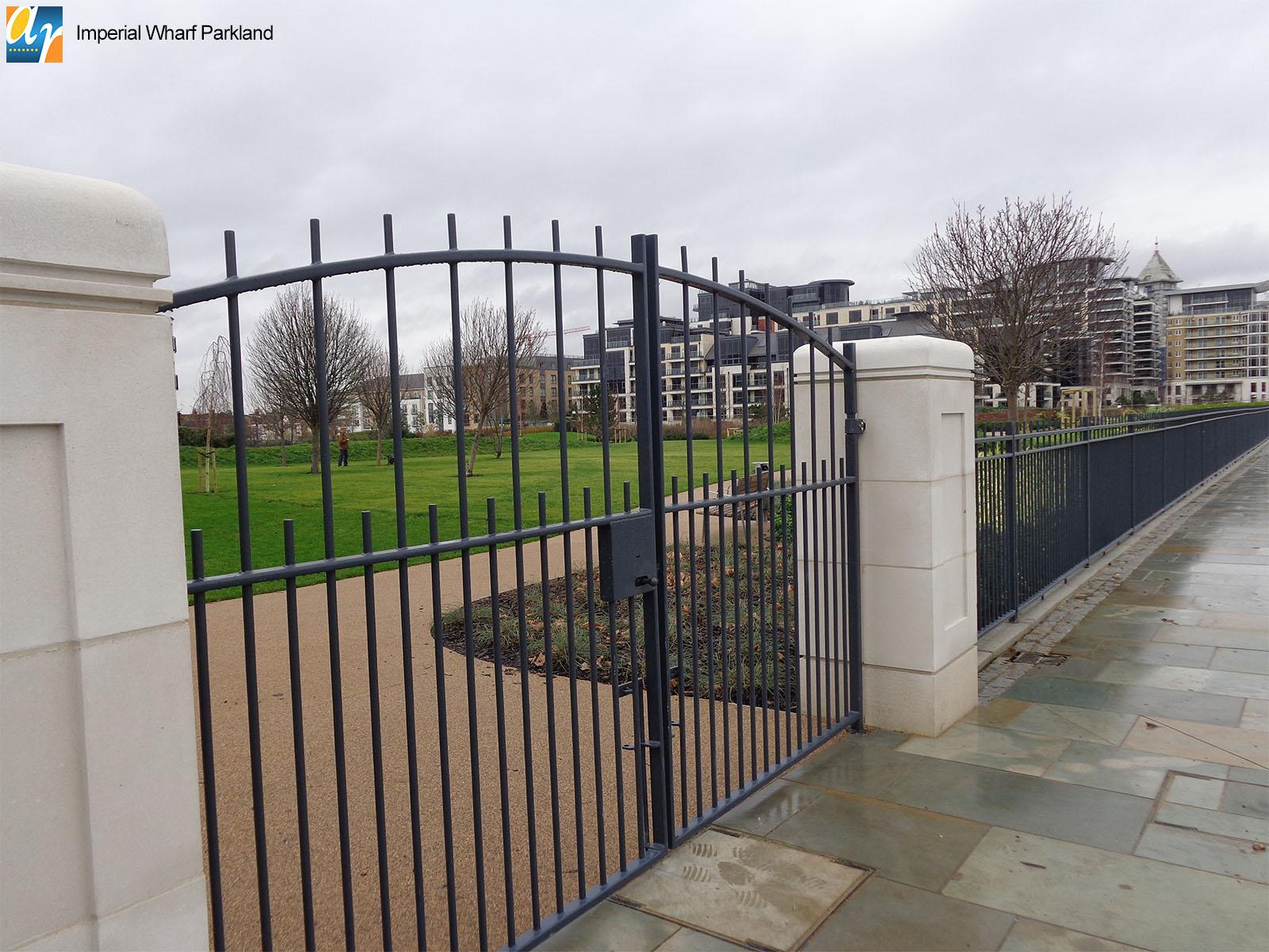Imperial Wharf Parkland metal gates