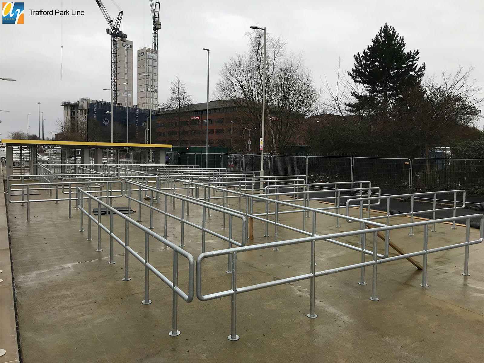 Trafford Park Line metal railings